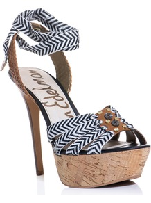 Mela Striped Embellished Platform - secondary colour: tan; occasions: evening, occasion, holiday; material: fabric; embellishment: beading; ankle detail: ankle strap; heel: platform; toe: open toe/peeptoe; style: strappy; predominant colour: monochrome; trends: modern geometrics; finish: plain; pattern: striped; heel height: very high