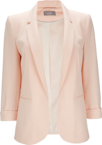 Pink Jacket - pattern: plain; style: single breasted blazer; length: below the bottom; collar: standard lapel/rever collar; predominant colour: blush; occasions: evening, work, occasion, holiday; fit: tailored/fitted; fibres: polyester/polyamide - stretch; sleeve length: 3/4 length; sleeve style: standard; texture group: cotton feel fabrics; collar break: low/open; pattern type: fabric