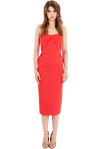 Alves Dress - style: shift; length: below the knee; fit: tailored/fitted; pattern: plain; sleeve style: sleeveless; bust detail: added detail/embellishment at bust; waist detail: fitted waist; neckline: sweetheart; hip detail: fitted at hip; predominant colour: true red; fibres: viscose/rayon - stretch; occasions: occasion; sleeve length: sleeveless; texture group: crepes; pattern type: fabric