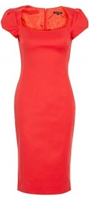 Red Cotton Satin Stretch Cap Sleeve Dress - style: shift; length: below the knee; neckline: high square neck; sleeve style: puffed; fit: tailored/fitted; waist detail: fitted waist; predominant colour: true red; occasions: casual, evening, work, occasion; fibres: cotton - mix; sleeve length: short sleeve; texture group: structured shiny - satin/tafetta/silk etc.; pattern type: fabric; pattern size: standard