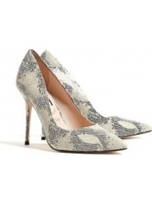 Goldstone Aster Snake Print Stiletto Shoes - predominant colour: mid grey; occasions: evening, work, occasion; material: leather; heel: stiletto; toe: pointed toe; style: courts; finish: plain; pattern: animal print; heel height: very high