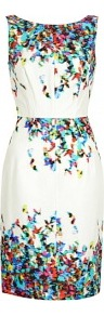 Green Water Morning Butterfly Print Sleeveless Dress Tara - style: shift; neckline: round neck; fit: tailored/fitted; sleeve style: sleeveless; waist detail: fitted waist; back detail: low cut/open back; predominant colour: white; occasions: evening, occasion; length: just above the knee; fibres: cotton - mix; sleeve length: sleeveless; texture group: silky - light; pattern type: fabric; pattern size: small &amp; busy; pattern: patterned/print