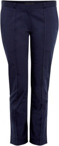 Navy Cropped Twill Chino Trousers - pattern: plain; waist: mid/regular rise; predominant colour: navy; occasions: casual, evening, work; length: ankle length; style: chino; fibres: cotton - stretch; fit: slim leg; texture group: woven light midweight