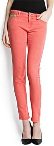 Sequin Slim Fit Jeans - style: skinny leg; pattern: plain; waist: low rise; pocket detail: traditional 5 pocket; predominant colour: coral; secondary colour: gold; occasions: casual, evening, holiday; length: ankle length; texture group: denim; pattern type: fabric; embellishment: sequins; fibres: cashmere - stretch