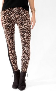 Wild Tuxedo Striped Leggings - length: standard; style: leggings; waist detail: elasticated waist; waist: mid/regular rise; predominant colour: camel; occasions: casual, evening; fibres: cotton - stretch; texture group: jersey - clingy; fit: skinny/tight leg; pattern type: fabric; pattern size: small & busy; pattern: animal print