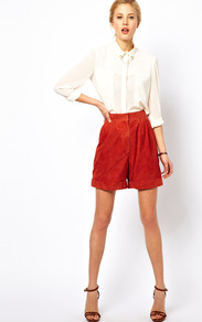 White Suede Longline Shorts - pattern: plain; style: shorts; waist: high rise; length: mid thigh shorts; predominant colour: terracotta; occasions: casual, evening, work; fibres: leather - 100%; jeans &amp; bottoms detail: turn ups; fit: baggy; pattern type: fabric; texture group: suede