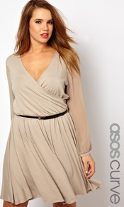 Curve Wrap Dress With Chiffon Sleeves - style: faux wrap/wrap; length: mid thigh; neckline: low v-neck; fit: fitted at waist; pattern: plain; waist detail: belted waist/tie at waist/drawstring; predominant colour: stone; occasions: casual, evening; fibres: viscose/rayon - stretch; sleeve length: long sleeve; sleeve style: standard; texture group: sheer fabrics/chiffon/organza etc.; pattern type: fabric
