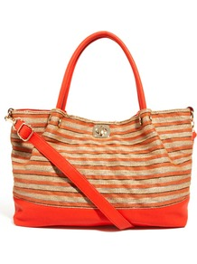 Metallic Weave Smart Beach Bag - predominant colour: bright orange; occasions: casual, holiday; type of pattern: standard; style: tote; length: handle; size: standard; material: fabric; finish: plain; pattern: horizontal stripes