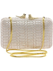 Clutch Bag With Bird Clasp - predominant colour: silver; occasions: evening, occasion; type of pattern: light; style: clutch; length: hand carry; size: mini; material: faux leather; pattern: plain; trends: metallics; finish: metallic; embellishment: chain/metal