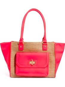 Hydelade Shoulder Tote Bag - predominant colour: hot pink; occasions: casual, holiday; type of pattern: standard; style: tote; length: handle; size: standard; material: macrame/raffia/straw; pattern: plain; trends: fluorescent; finish: fluorescent