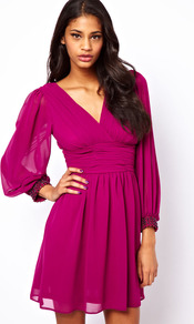 Blouson Sleeve Wrap Dress With Embellished Cuff - style: faux wrap/wrap; length: mid thigh; neckline: low v-neck; fit: fitted at waist; pattern: plain; waist detail: wide waistband/cummerbund; back detail: low cut/open back; sleeve style: balloon; predominant colour: magenta; occasions: evening, occasion; fibres: polyester/polyamide - 100%; hip detail: soft pleats at hip/draping at hip/flared at hip; sleeve length: long sleeve; texture group: sheer fabrics/chiffon/organza etc.; trends: volume; pattern type: fabric; embellishment: jewels
