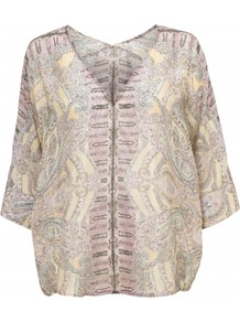 Verity Top - neckline: v-neck; sleeve style: dolman/batwing; pattern: paisley; predominant colour: primrose yellow; occasions: casual, holiday; length: standard; style: top; fibres: silk - 100%; fit: loose; sleeve length: 3/4 length; texture group: sheer fabrics/chiffon/organza etc.; pattern type: fabric; pattern size: big & busy