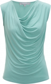 Ariela Top - neckline: cowl/draped neck; pattern: plain; sleeve style: sleeveless; waist detail: twist front waist detail/nipped in at waist on one side/soft pleats/draping/ruching/gathering waist detail; bust detail: ruching/gathering/draping/layers/pintuck pleats at bust; predominant colour: turquoise; occasions: casual, evening, work; length: standard; style: top; fibres: viscose/rayon - 100%; fit: body skimming; sleeve length: sleeveless; pattern type: fabric; pattern size: standard; texture group: jersey - stretchy/drapey