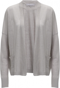 Iris Cardigan - pattern: plain; neckline: collarless open; style: open front; predominant colour: light grey; occasions: casual, work; length: standard; fibres: linen - mix; fit: standard fit; sleeve length: long sleeve; sleeve style: standard; texture group: knits/crochet; pattern type: knitted - fine stitch; pattern size: standard