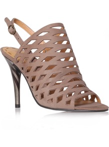 Smileydays - predominant colour: taupe; occasions: evening, work, occasion; material: leather; heel height: high; embellishment: buckles; heel: stiletto; toe: open toe/peeptoe; style: slingbacks; finish: plain; pattern: plain