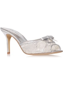 Goodare2 - predominant colour: silver; occasions: evening, occasion; material: faux leather; heel height: mid; embellishment: sequins; heel: stiletto; toe: open toe/peeptoe; style: mules; finish: metallic; pattern: florals