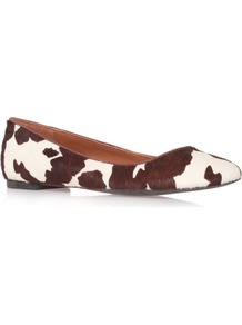 Widgeon5 - predominant colour: chocolate brown; occasions: casual, work; material: leather; heel height: flat; toe: round toe; style: ballerinas / pumps; finish: plain; pattern: animal print