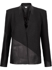 Black Asymmetric Leather Panel Jacket - pattern: plain; style: single breasted blazer; collar: standard lapel/rever collar; predominant colour: black; occasions: casual, evening, work, occasion; length: standard; fit: tailored/fitted; sleeve length: long sleeve; sleeve style: standard; collar break: low/open; pattern type: fabric; texture group: woven light midweight; fibres: viscose/rayon - mix
