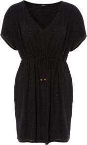Jersey Kaftan Black - neckline: v-neck; fit: fitted at waist; pattern: plain; style: kaftan; waist detail: belted waist/tie at waist/drawstring; predominant colour: black; occasions: casual, holiday; length: just above the knee; fibres: polyester/polyamide - mix; sleeve length: short sleeve; sleeve style: standard; pattern type: fabric; texture group: jersey - stretchy/drapey
