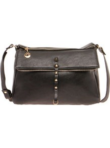 Lara Raw Zip Shoulder Bag - predominant colour: black; occasions: casual, work; style: shoulder; length: across body/long; size: standard; material: faux leather; embellishment: studs; pattern: plain; finish: plain