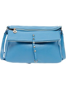 Lara Raw Zip Shoulder Bag - predominant colour: diva blue; occasions: casual, work; style: shoulder; length: across body/long; size: standard; material: faux leather; embellishment: studs; pattern: plain; finish: plain
