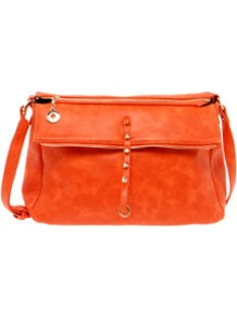 Lara Raw Zip Shoulder Bag - predominant colour: bright orange; occasions: casual, work; style: shoulder; length: across body/long; size: standard; material: faux leather; embellishment: studs; pattern: plain; finish: plain