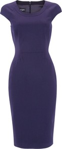 Verushka Dress, Navy - style: shift; length: below the knee; neckline: round neck; sleeve style: capped; fit: tailored/fitted; pattern: plain; waist detail: fitted waist; predominant colour: purple; occasions: casual, evening, work; fibres: wool - stretch; sleeve length: short sleeve; texture group: crepes; pattern type: fabric