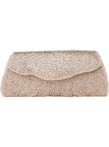 Myley Metallic Beaded Clutch Bag, Mink - predominant colour: taupe; occasions: evening, occasion; type of pattern: heavy; style: clutch; length: hand carry; size: standard; material: fabric; embellishment: beading; pattern: plain; trends: metallics; finish: metallic