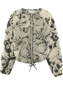 Quilted Bomber Jacket - collar: round collar/collarless; fit: loose; style: bomber; predominant colour: stone; occasions: casual; length: standard; fibres: polyester/polyamide - 100%; sleeve length: long sleeve; sleeve style: standard; collar break: high; pattern type: fabric; pattern size: big &amp; busy; pattern: patterned/print; texture group: other - light to midweight