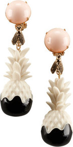 Clip Earrings - predominant colour: ivory; occasions: evening, occasion, holiday; style: drop; length: mid; size: large/oversized; material: plastic/rubber; fastening: clip on; finish: plain; embellishment: jewels