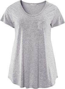 + Top - pattern: plain; style: t-shirt; predominant colour: light grey; occasions: casual; length: standard; neckline: scoop; fibres: cotton - mix; fit: loose; sleeve length: short sleeve; sleeve style: standard; texture group: jersey - stretchy/drapey