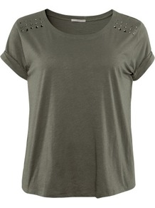 + Top - neckline: round neck; sleeve style: capped; pattern: plain; style: t-shirt; predominant colour: khaki; occasions: casual; length: standard; fibres: cotton - 100%; fit: body skimming; shoulder detail: added shoulder detail; sleeve length: short sleeve; pattern size: small & light; texture group: jersey - stretchy/drapey; embellishment: studs