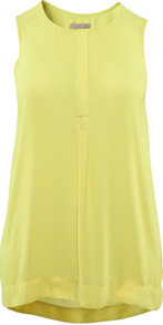 + Tunic - neckline: round neck; pattern: plain; sleeve style: sleeveless; length: below the bottom; style: tunic; predominant colour: yellow; occasions: casual; fibres: polyester/polyamide - 100%; fit: body skimming; sleeve length: sleeveless; texture group: sheer fabrics/chiffon/organza etc.; pattern type: fabric