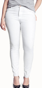 + Jeans - style: skinny leg; length: standard; pattern: plain; pocket detail: traditional 5 pocket; waist: mid/regular rise; predominant colour: white; occasions: casual, holiday; fibres: cotton - stretch; texture group: denim; pattern type: fabric; pattern size: standard