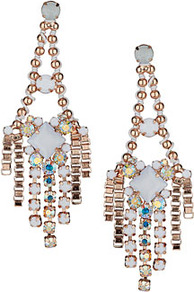 Premium Thread Wrapped Earrings - occasions: evening, occasion; predominant colour: multicoloured; style: chandelier; length: mid; size: large/oversized; material: chain/metal; fastening: pierced; trends: metallics; finish: metallic; embellishment: crystals