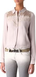 Embroidered Shirt - neckline: shirt collar/peter pan/zip with opening; pattern: plain; style: shirt; shoulder detail: contrast pattern/fabric at shoulder; predominant colour: blush; occasions: casual, work; length: standard; fibres: viscose/rayon - 100%; fit: straight cut; sleeve length: long sleeve; sleeve style: standard; texture group: crepes; pattern type: fabric; embellishment: embroidered