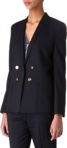 Stretch Wool Jacket - pattern: plain; style: double breasted blazer; length: below the bottom; collar: standard lapel/rever collar; predominant colour: navy; occasions: work; fit: tailored/fitted; fibres: wool - stretch; back detail: back vent/flap at back; sleeve length: long sleeve; sleeve style: standard; collar break: low/open; pattern type: fabric; texture group: woven light midweight
