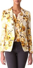 Floral Print Jacket - style: single breasted blazer; length: below the bottom; collar: standard lapel/rever collar; predominant colour: ivory; secondary colour: yellow; occasions: casual, evening, work, occasion; fit: tailored/fitted; fibres: cotton - stretch; sleeve length: long sleeve; sleeve style: standard; texture group: cotton feel fabrics; trends: high impact florals; collar break: low/open; pattern type: fabric; pattern size: standard; pattern: florals
