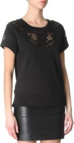 Tentant Crochet T Shirt - neckline: round neck; pattern: plain; predominant colour: black; occasions: casual, evening; length: standard; style: top; fibres: cotton - 100%; fit: body skimming; bust detail: contrast pattern/fabric/detail at bust; sleeve length: short sleeve; sleeve style: standard; pattern type: fabric; texture group: jersey - stretchy/drapey