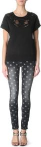 Pluton Star Print Skinny Mid Rise Jeans - style: skinny leg; pocket detail: traditional 5 pocket; waist: mid/regular rise; secondary colour: white; predominant colour: black; occasions: casual; length: ankle length; fibres: cotton - stretch; jeans detail: washed/faded; texture group: denim; pattern type: fabric; pattern size: small & busy; pattern: patterned/print