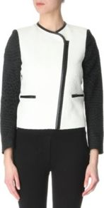 Verseau Jacket - style: biker; collar: asymmetric biker; fit: slim fit; shoulder detail: contrast pattern/fabric at shoulder; secondary colour: black; occasions: casual, evening, work; length: standard; fibres: polyester/polyamide - mix; sleeve length: long sleeve; sleeve style: standard; predominant colour: monochrome; collar break: high/illusion of break when open; pattern type: fabric; pattern size: big & light; pattern: colourblock; texture group: woven light midweight