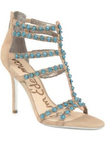Alina Cage Sandals - predominant colour: turquoise; secondary colour: champagne; occasions: evening, occasion; material: suede; heel height: high; embellishment: beading; ankle detail: ankle strap; heel: stiletto; toe: open toe/peeptoe; style: strappy; finish: plain; pattern: plain