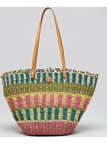 Tote Multi Straw - occasions: casual, holiday; predominant colour: multicoloured; type of pattern: standard; style: tote; length: shoulder (tucks under arm); size: standard; material: macrame/raffia/straw; finish: plain; pattern: patterned/print