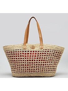 Tote Twisted Straw Megan - predominant colour: stone; occasions: casual, holiday; style: tote; length: shoulder (tucks under arm); size: standard; material: macrame/raffia/straw; pattern: plain; finish: plain