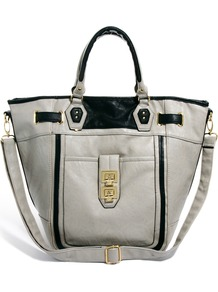 Tote Bag - predominant colour: mid grey; occasions: casual, work; type of pattern: standard; style: tote; length: handle; size: standard; material: faux leather; pattern: plain; finish: plain