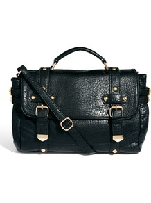 Latchel Bag - predominant colour: black; occasions: casual, work; type of pattern: standard; style: satchel; length: across body/long; size: standard; material: faux leather; pattern: plain; finish: plain; embellishment: buckles