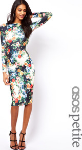 Petite Exclusive Bodycon Dress In Floral Print - neckline: slash/boat neckline; fit: tight; style: bodycon; back detail: low cut/open back; occasions: casual, evening, work, occasion; length: on the knee; fibres: polyester/polyamide - stretch; predominant colour: multicoloured; sleeve length: long sleeve; sleeve style: standard; texture group: jersey - clingy; trends: high impact florals; pattern type: fabric; pattern size: small &amp; busy; pattern: florals
