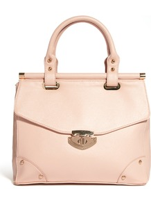 Laura Bag - predominant colour: blush; occasions: casual, work; type of pattern: standard; style: structured bag; length: handle; size: standard; material: faux leather; pattern: plain; finish: plain