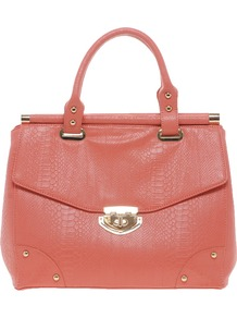 Laura Bag - predominant colour: coral; occasions: casual, work; type of pattern: standard; style: structured bag; length: handle; size: standard; material: faux leather; pattern: plain; finish: plain