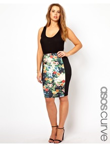 Curve Exclusive Pencil Skirt With Floral Panel - style: pencil; fit: tight; waist detail: fitted waist; waist: high rise; occasions: casual, evening, work, occasion, holiday; length: on the knee; fibres: polyester/polyamide - stretch; hip detail: contrast fabric/print detail at hip; predominant colour: multicoloured; trends: high impact florals; pattern type: fabric; pattern size: small &amp; busy; pattern: patterned/print; texture group: jersey - stretchy/drapey